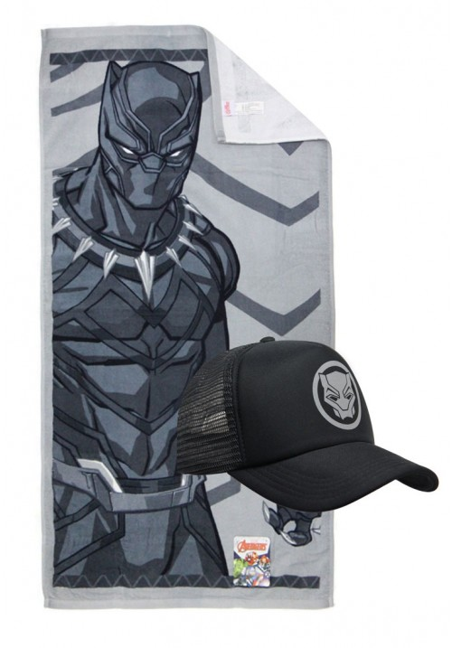detailed look 6d8a8 61c8f Marvel Towel and Caps - Black Panther ...