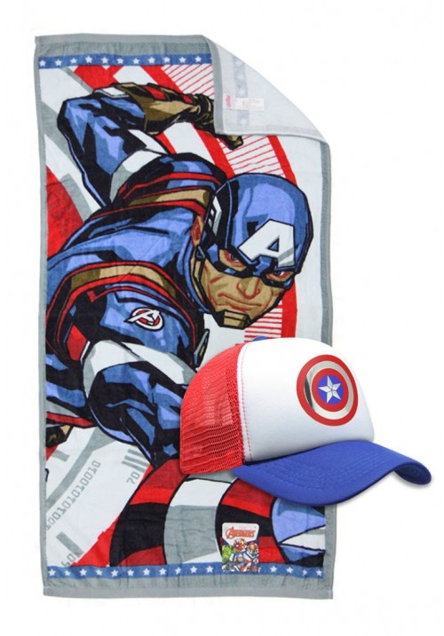 premium selection 789c9 cd8ab Marvel Towel and Caps - Captain America ...